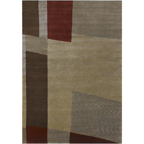 Hand-knotted Brown Contemporary Thornbury Wool Abstract Area Rug - 9' x 13'