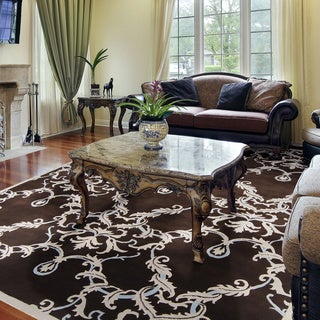 Hand-knotted Murray Damask Print Wool Rug (8' x 11')