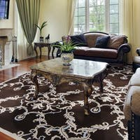 Hand-knotted Murray Damask Print Wool Area Rug - 8' x 11'