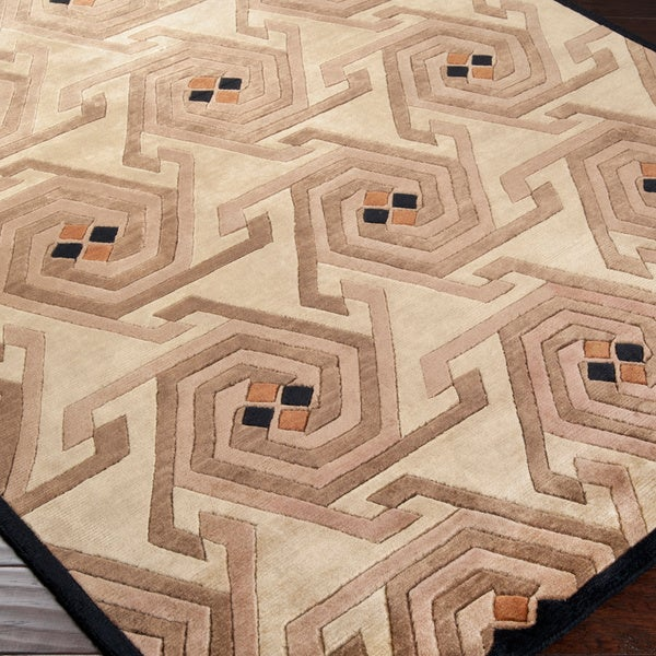 Hand-knotted Beige Contemporary Nadia Wool Geometric Area Rug - 5' x 8'
