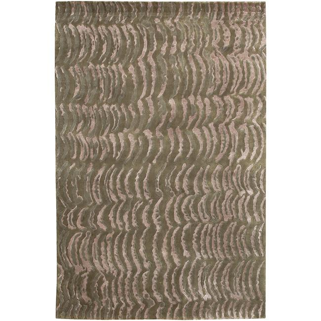 Hand-knotted Verve Abstract Design Wool Area Rug - 9' x 13'