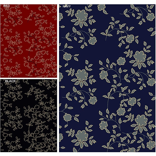 Admire Home Living Impressions Floral Abstract Area Rug (3'3 x 4'11)