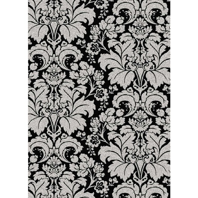 Admire Home Living Brilliance Black/Silver Damask Area Rug (3'3 x 4'11)