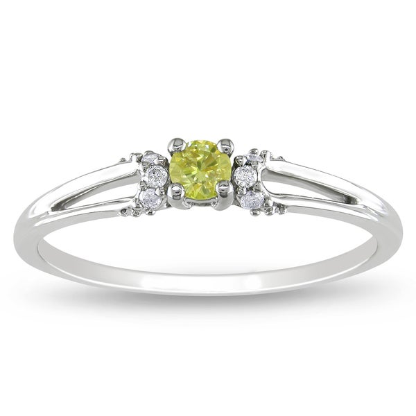 Miadora 10k Gold 1/5ct TDW Yellow and White Diamond Ring