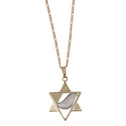 14k Yellow Gold Diamond Accent Star Of David Necklace (H-I , SI1)