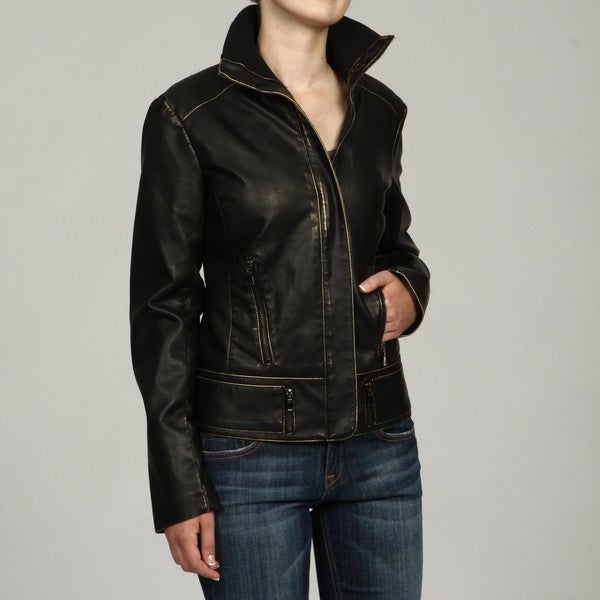 Collezione Women's Plus Size Black/Gold Undertone Faux Leather Jacket