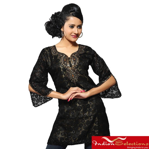 Women's Black Crepe Georgette Kurti/ Tunic (India)