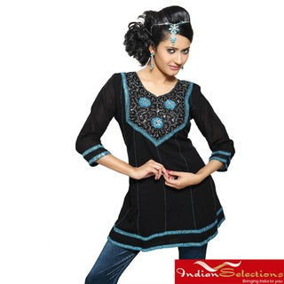 Handmade Crushed Georgette Black Ribbon and Lace Kurti/ Tunic (India)