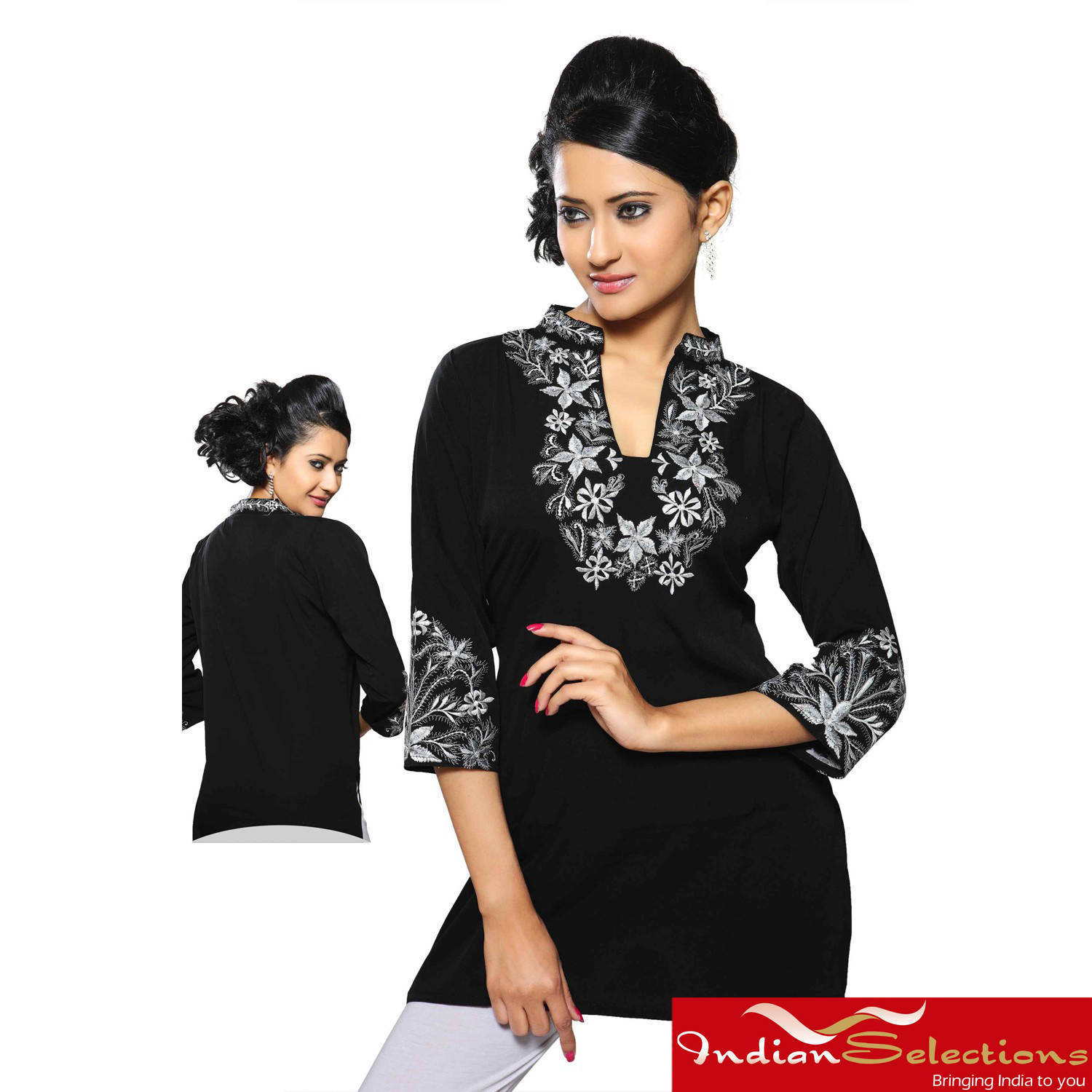 Handmade Women's Georgette Black Embroidered Neckline Kur...