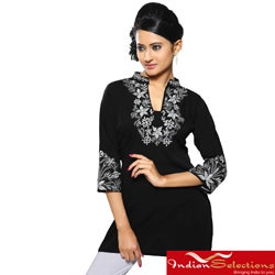 Handmade Women's Georgette Black Embroidered Neckline Kurti/ Tuni (India)