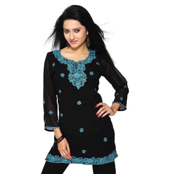 Handmade Georgette Black with Turquoise Embroidery Kurti/ Tunic (India)