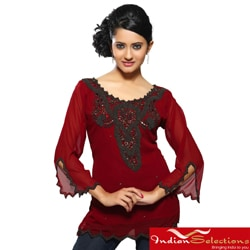 Georgette Maroon with Antique Beadwork Kurti/ Tunic (India)