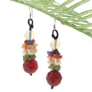 Pearl and Multi-gemstone Fab Drop Earrings (4-6 mm) (Thailand)