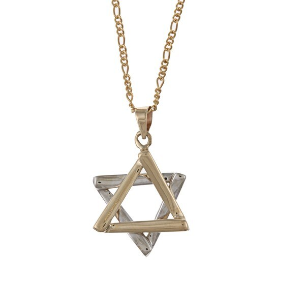 14k Gold Star Of David Figaro Chain Necklace