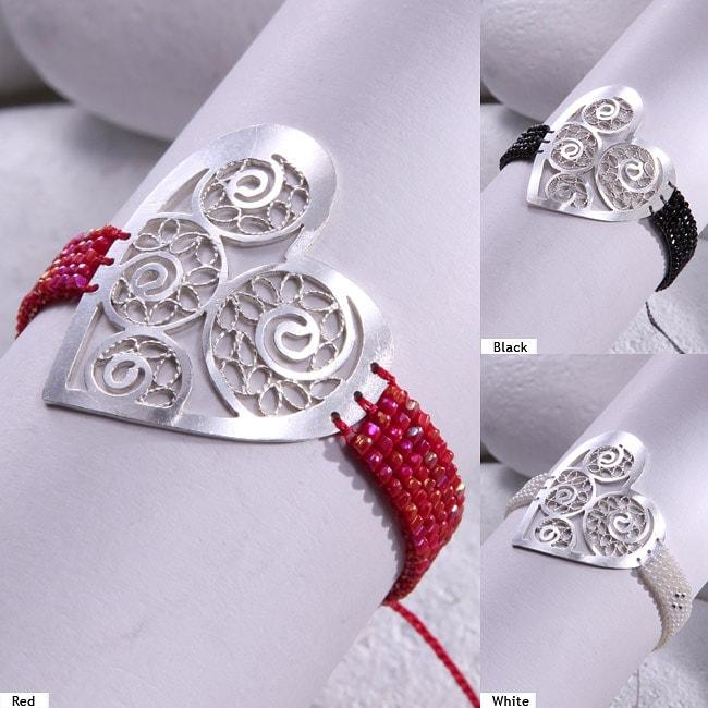 Mishky Sterling Silver Filigree Heart Bracelet (Colombia)