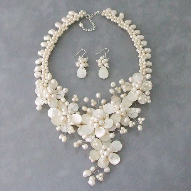Mother of Pearl and Pearl Floral Vines Jewelry Set (3-10 mm) (Thailand)