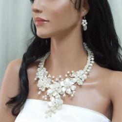 Mother of Pearl and Pearl Floral Vines Jewelry Set (3-10 mm) (Thailand) - Thumbnail 2