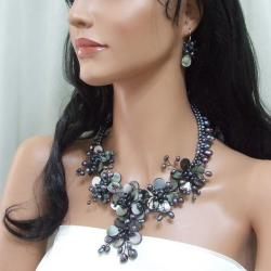 Black MOP and Pearl Floral Vines Jewelry Set (3-10 mm) (Thailand) - Thumbnail 2
