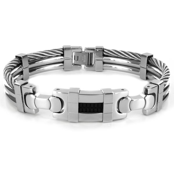 West Coast Jewelry Stainless Steel Men's Cable and Black Rubber Center Bracelet