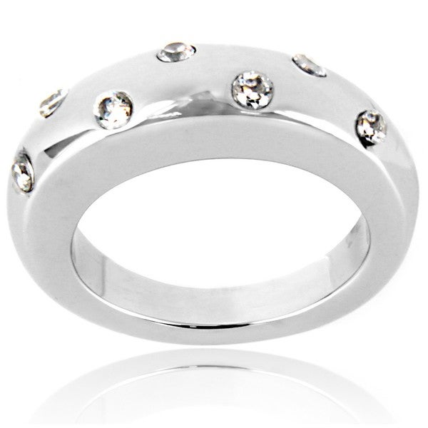 High-polished Stainless Steel Round Clear Crystal Graduated Band