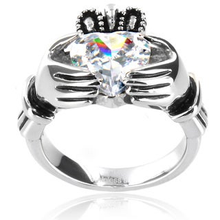 West Coast Jewelry Stainless Steel Heart-cut Cubic Zirconia Claddagh Ring