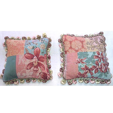 Corona Decor French Woven Orchid Decorative Pillows (Set of 2)