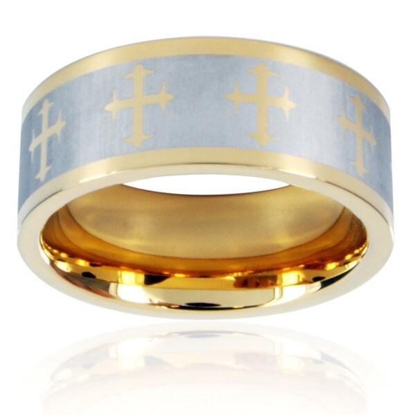 Crucible Goldtone Stainless Steel Men's Laser Cross Design Ring