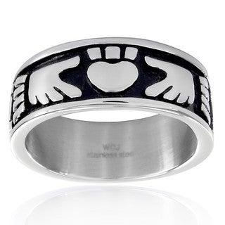 Crucible Stainless Steel Claddagh Black Enamel Ring