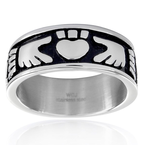 Crucible Stainless Steel Claddagh Black Enamel Ring