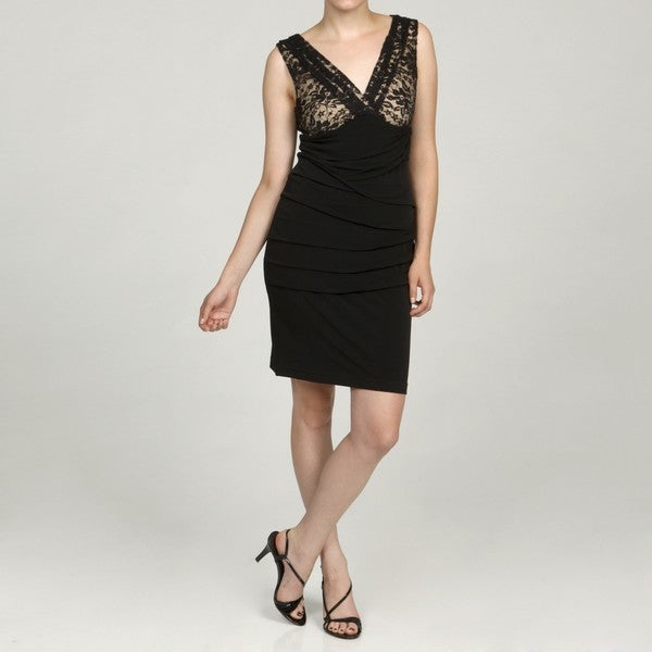 Connected Apparel Women's Black/ Nude Lace Dress