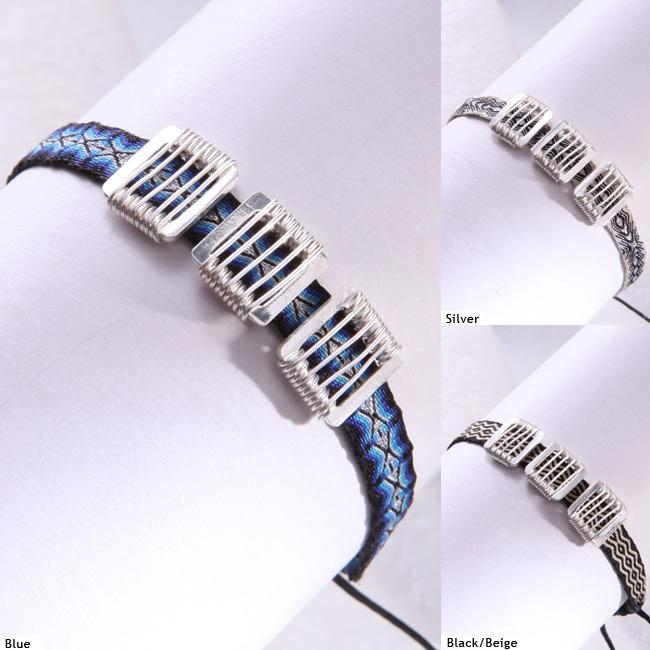 Mishky Sterling Silver 3-Square Bracelet (Colombia)