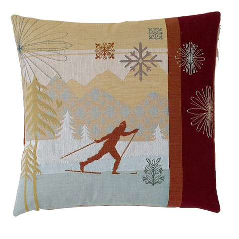 Corona Decor Feather and Down Fill Modern Cross Country Ski Decorative Down Pillow