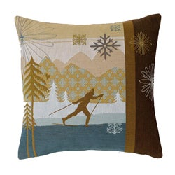 Corona Decor French-woven Feather and Down Fill Cross Country Ski Decorative Down Pillow