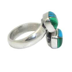 Handmade Alpaca Silver Malachite and Turquoise Wrap Ring (Mexico) - Thumbnail 1