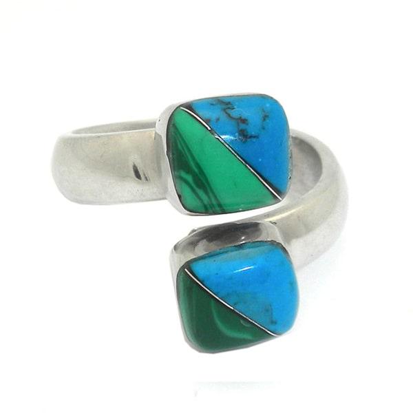 Handmade Alpaca Silver Malachite and Turquoise Wrap Ring (Mexico)
