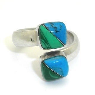 Handmade Alpaca Silver Malachite and Turquoise Wrap Ring (Mexico)