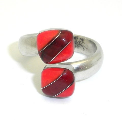 Handmade Alpaca Silver Alloy Bloodstone and Coral Wrap Ring (Mexico)