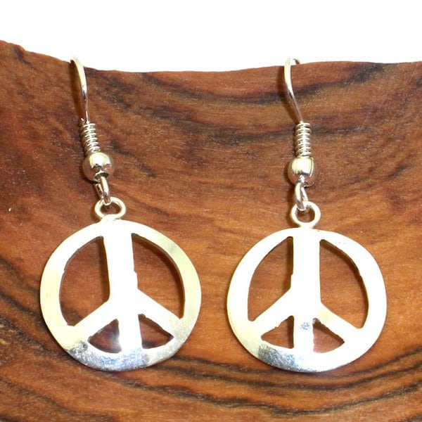 Shop Handmade Silver Peace Symbol Earrings Mexico On Sale Free