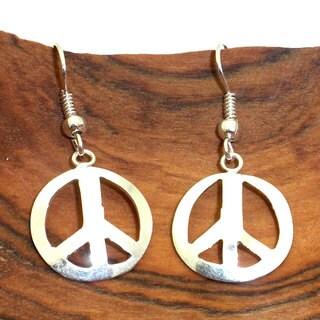 Handmade Silver Peace Symbol Earrings (Mexico)