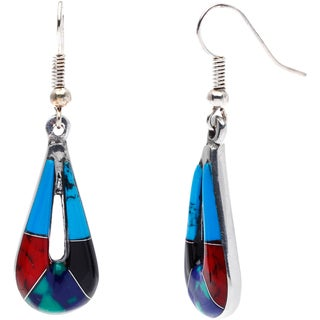 Handmade Silver Inlaid Turquoise and Polished Stone Teardrop Earrings (Mexico)