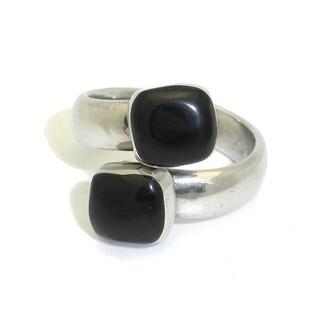 Handmade Alpaca Silver Twin Onyx Wrap Ring (Mexico)