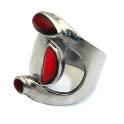 Handmade Alpaca Silver Bloodstone Wrap Ring (Mexico)