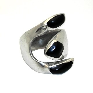 Handmade Alpaca Silver Onyx Wrap Ring (Mexico)