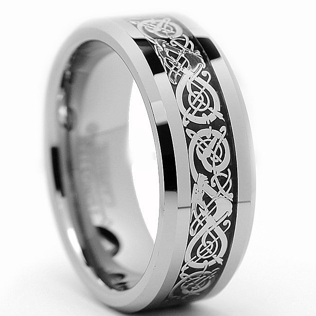 Men's Tungsten Carbide Dragon Design Ring (8 mm)