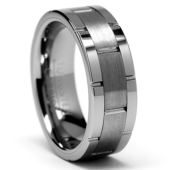 Men's Scratch-Resistant Tungsten Carbide Grooved Ring (8 mm) - Thumbnail 0