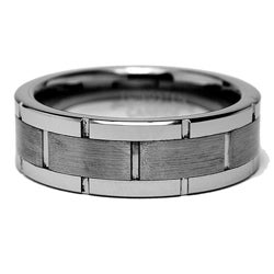 Men's Scratch-Resistant Tungsten Carbide Grooved Ring (8 mm) - Thumbnail 1