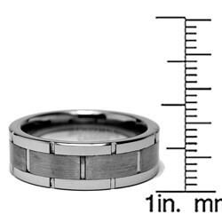Men's Scratch-Resistant Tungsten Carbide Grooved Ring (8 mm)