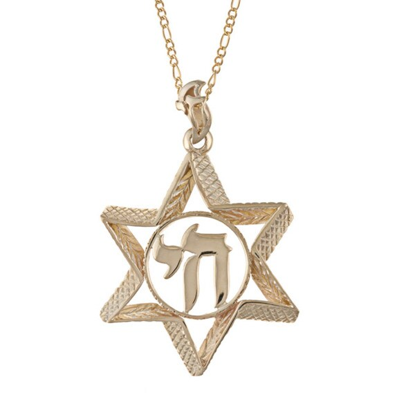 14k gold star of david 39 chai 39 necklace free shipping for Star of david necklace mens jewelry
