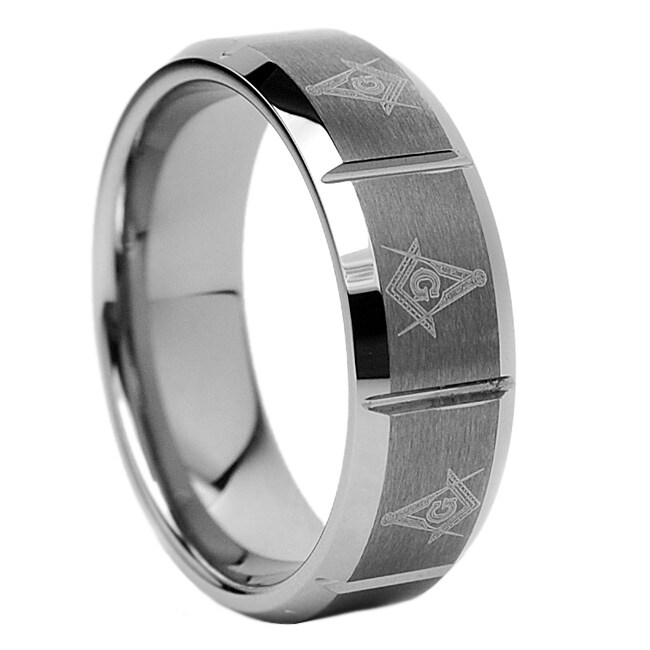 Men's Tungsten Carbide Masonic Design Ring (8 mm)