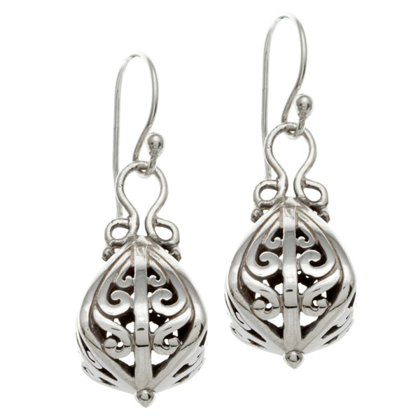 overstock earrings shop sunstone sterling silver bali drop earrings free 7940